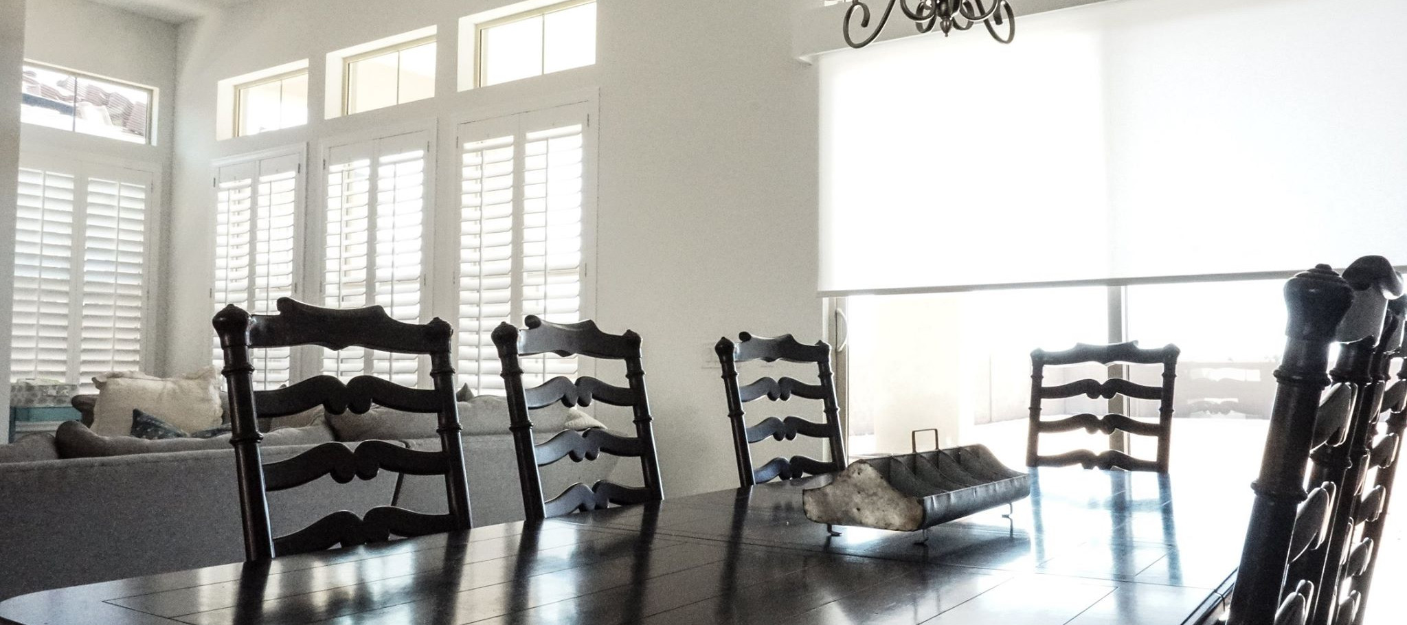 Dining Area with Window Shades