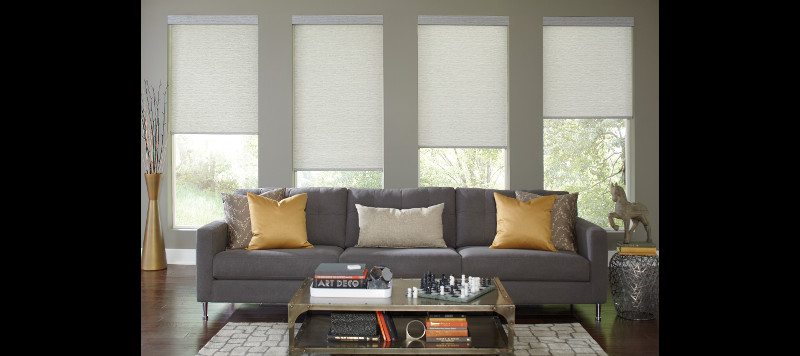 Motorized Window Covers in Living Area