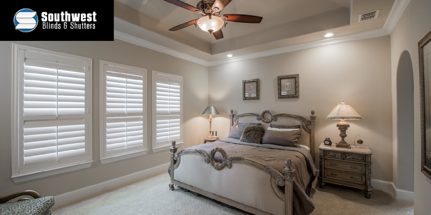 Bedroom with Fan and Shuttered Windows