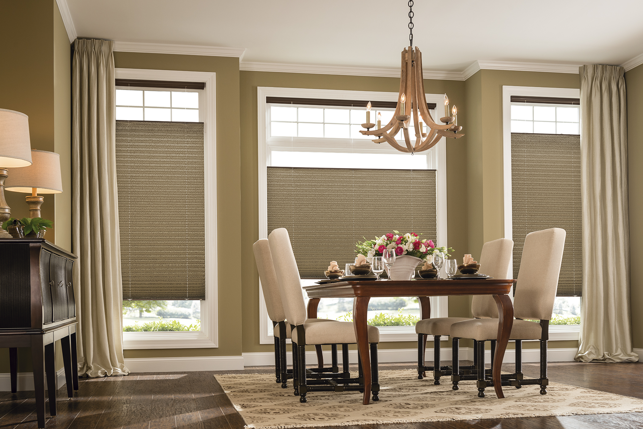 Pleated Blinds in Dining Room