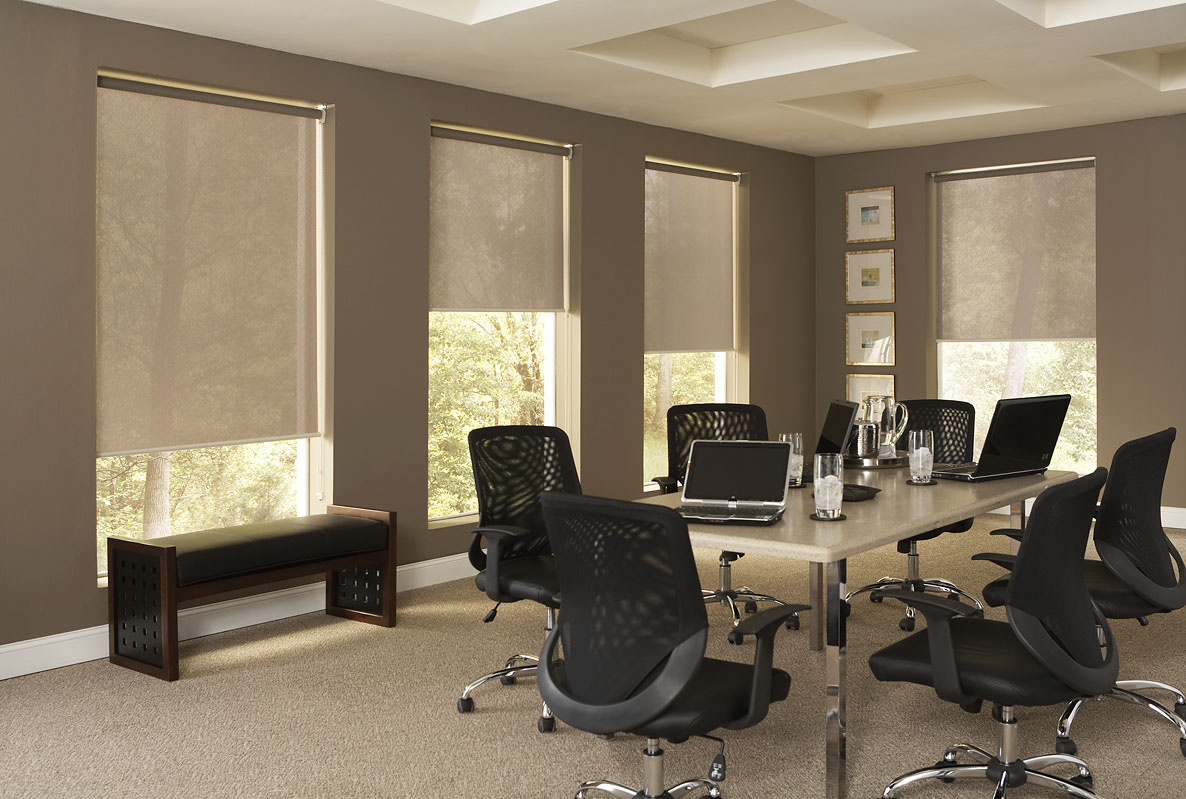 Motorized Shades in Office Setting