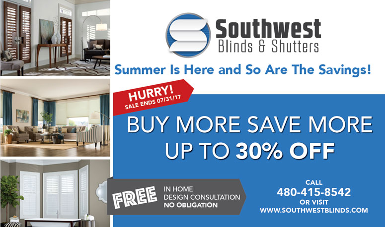 Southwest Blinds & Shutters 30% off sale graphic