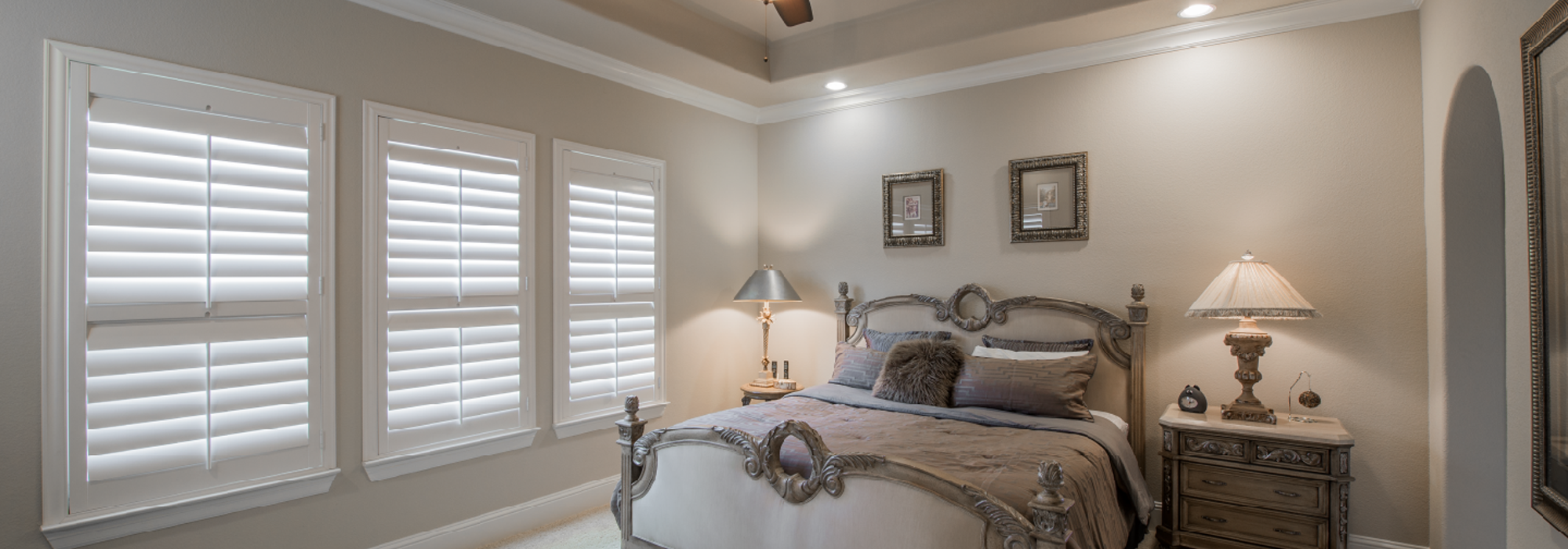 Beautiful Shutters for Master Bedroom at Southwest Blinds and Shutters