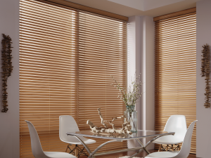 Faux Wood Blinds In Dining Area